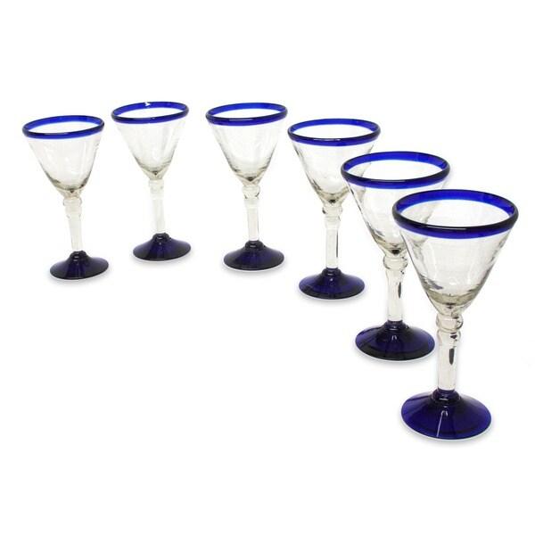 Set of 6 Blown Glass 'Double Bubble' Wine Glasses (Mexico)