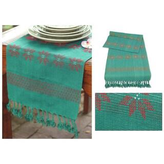 Cotton 'Poinsettia Stars' Table Runner (Thailand)