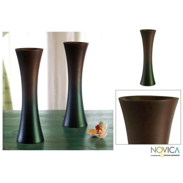 Set of 2 Mango Wood 'Thai Trumpets' Vases (Thailand)