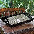 Handcrafted Eggshell 'Constellations' Mosaic Tray (Thailand)