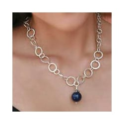 Sterling Silver 'Love Foretold' Lapis Lazuli Necklace (India)
