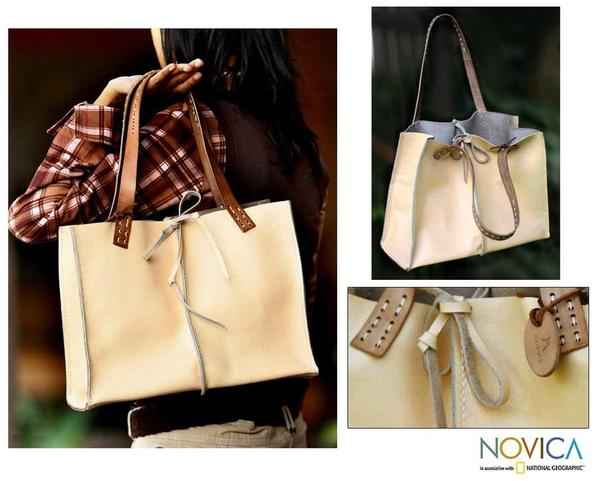 Leather 'Cream Chocolate' Medium Handbag (Indonesia)