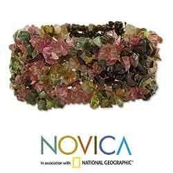 Tourmaline 'Festive' Stretch Bracelet (India)