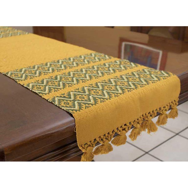 Cotton 'Olive Stars' Table Runner (Guatemala)