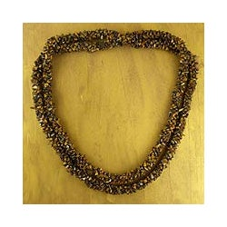 Tiger's Eye 'Honeysuckle' Long Beaded Necklace (India)