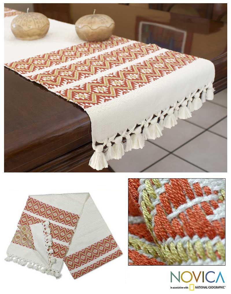 Cotton 'Terracotta Stars' Table Runner (Guatemala)