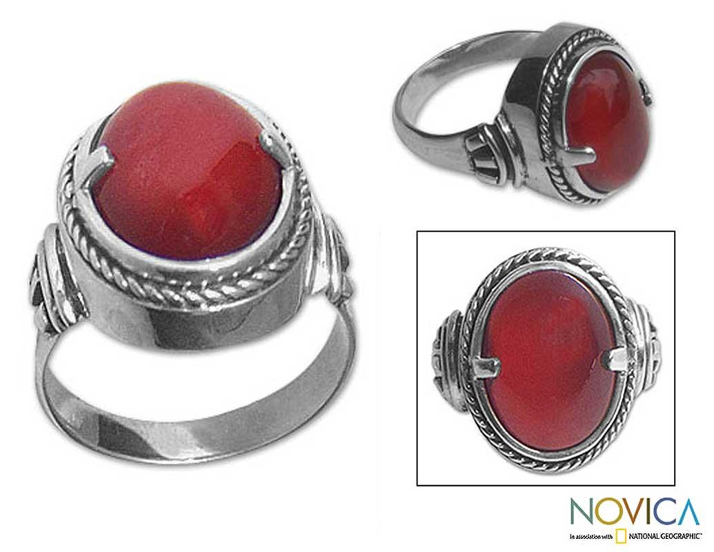 Sterling Silver Men's 'Dragon Eye' Carnelian Ring (Indonesia)