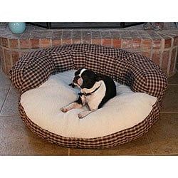 Round 42-inch Red Plaid Sherpa Pet Bed