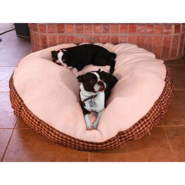 Round 50-inch Red Plaid with Sherpa Top Pet Bed