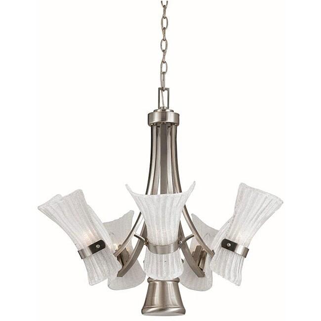 Bali 5+1 light Chandelier in Brushed Steel