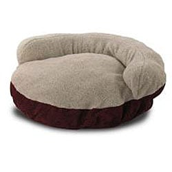 Burgundy 42-inch Microsuede Pet Bed