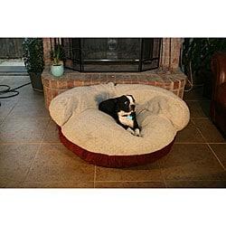 Burgundy 42-inch Microsuede Pet Bed