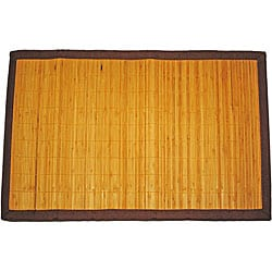 Asian Hand-woven Thin Natural Stripe Bamboo Rug (1'8 x 2'7)