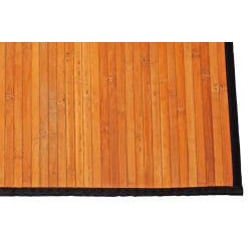 Asian Hand-woven Natural Stripe Bamboo Rug (2' x 3')