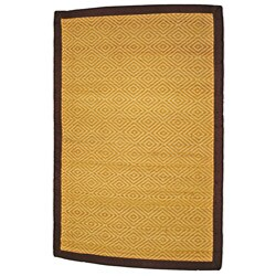 Asian Hand-woven Diamond Natural Bamboo Rug (2' x 3')