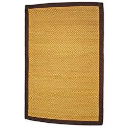 Asian Hand-woven Diamond Natural Bamboo Rug (2' x 3')