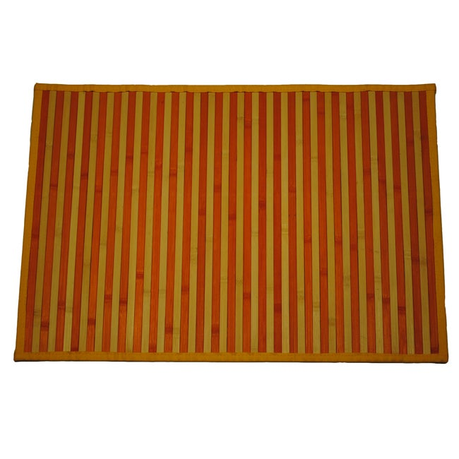 Asian Hand-woven Orange Stripe Bamboo Rug (2' x 3')