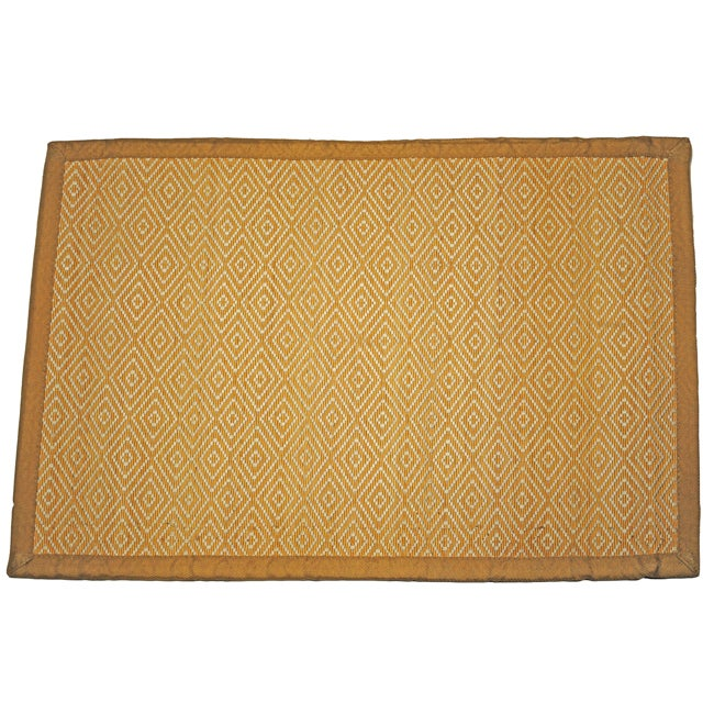Asian Hand Woven Diamond Pattern Rayon From Bamboo Rug 2