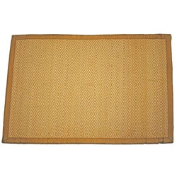 Asian Hand-woven Diamond Pattern Bamboo Rug (2' x 3')