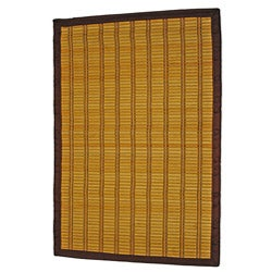 Asian Hand-woven Bold Stripe Bamboo Rug (2' x 3')