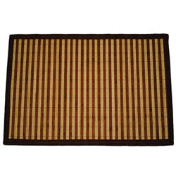Asian Hand-woven Dark/ Light Stripe Bamboo Rug (2' x 3')