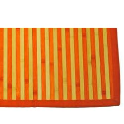 Asian Hand-woven Orange/ Natural Stripe Bamboo Rug (2' x 3')