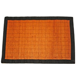 Asian Hand-woven Dark Brown Threaded Bamboo Rug (2' x 3')