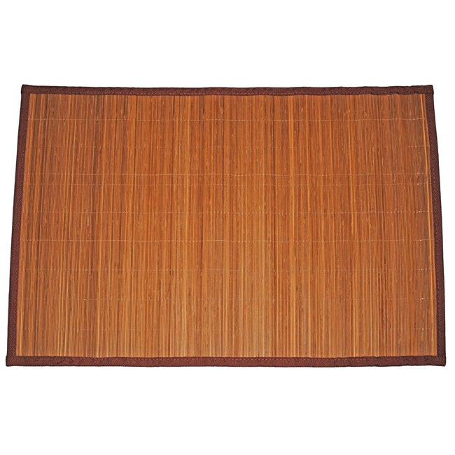 Asian Hand-woven Thin Stripe Bamboo Rug (1'9 x 2'7)