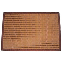 Asian Hand-woven Brown Threaded Bamboo Rug (2' x 3')