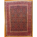 Persian Hand-knotted Navy/ Red Mahal Wool Rug (9'1 x 12')