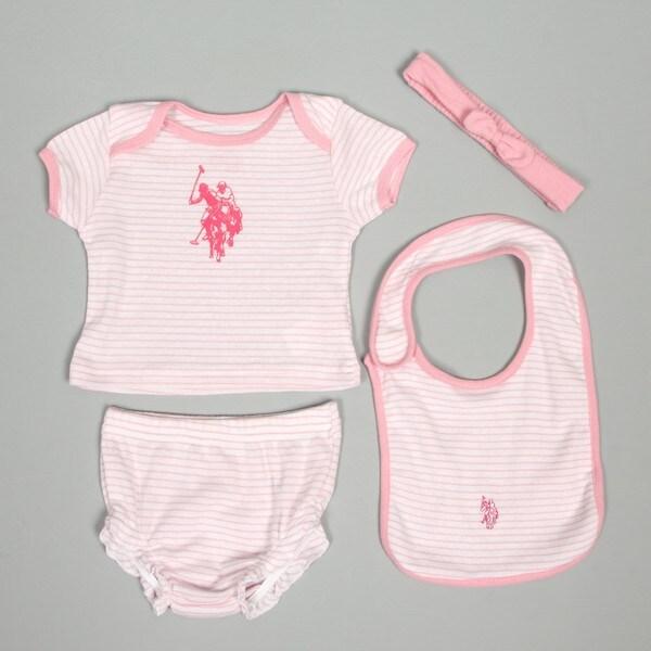 US Polo Newborn Girl's 4-Piece Bib Set