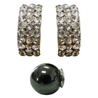 Magnetic Round White Cubic Zirconia Hoop Earrings