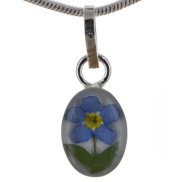 Sterling Silver Forgetmenot Flower Mini Oval Necklace (Mexico)