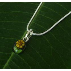 Sterling Silver Sunflower Small Oval Necklace (Mexico)