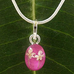Sterling Silver Snow White Flower Small Oval Necklace (Mexico)