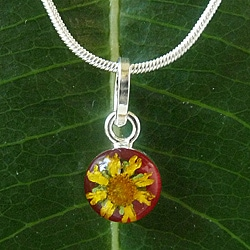 Sterling Silver Sunflower Small Red Oval Necklace (Mexico)