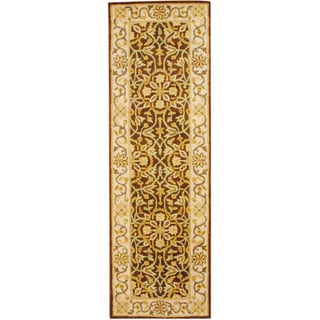 Indo Hand-tufted Brown/ Ivory Wool Rug (2'6 x 8')