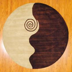 Indo Hand-tufted Ivory/ Brown Wool Rug (8' Round)