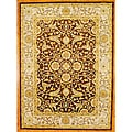 Indo Hand-tufted Brown/ Ivory Wool Rug (8' x 11')