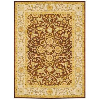 Herat Oriental Indo Hand-tufted Brown/ Ivory Wool Rug (8' x 11')