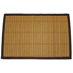 Asian Hand-woven Striped Bamboo Rug (2' x 3')