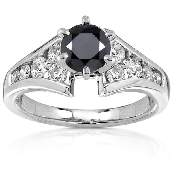 Annello 14k Gold 1 1/2ct TDW Black and White Diamond Ring (H-I, I1-I2)