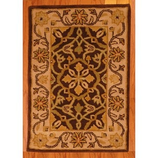 Indo Hand-tufted Brown/ Ivory Wool Rug (2' x 3')