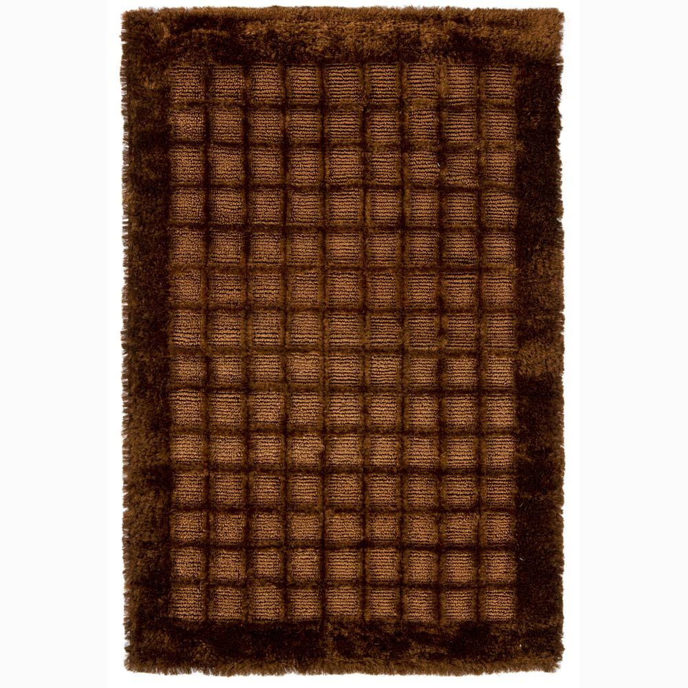 Handwoven Mandara Bordered Brown Shag Rug (7'9 x 10'6)