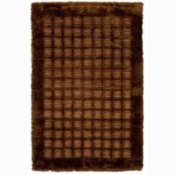 Handwoven Mandara Bordered Brown Shag Rug (7'9 x 10'6)