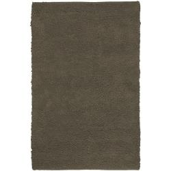 Hand-woven Washington Brown Wool Rug (5' x 8')