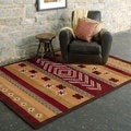 Hand-tufted Parnell Red Southwestern Aztec Wool Area Rug (5' x 8')