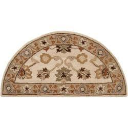Hand-tufted Traditional Capital Vanilla Floral Border Wool Rug (2' x 4')