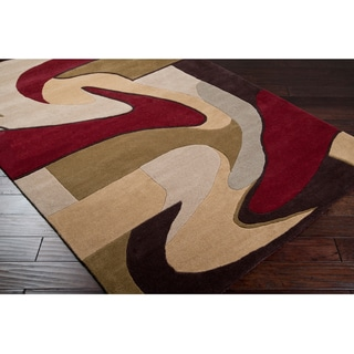 Hand-tufted Ray Beige Wool Rug (5' x 8')
