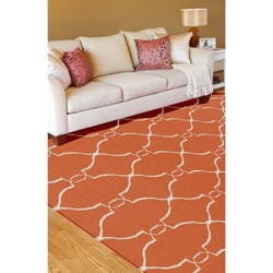 Hand Woven Prep Orange Wool Rug (5' x 8')
